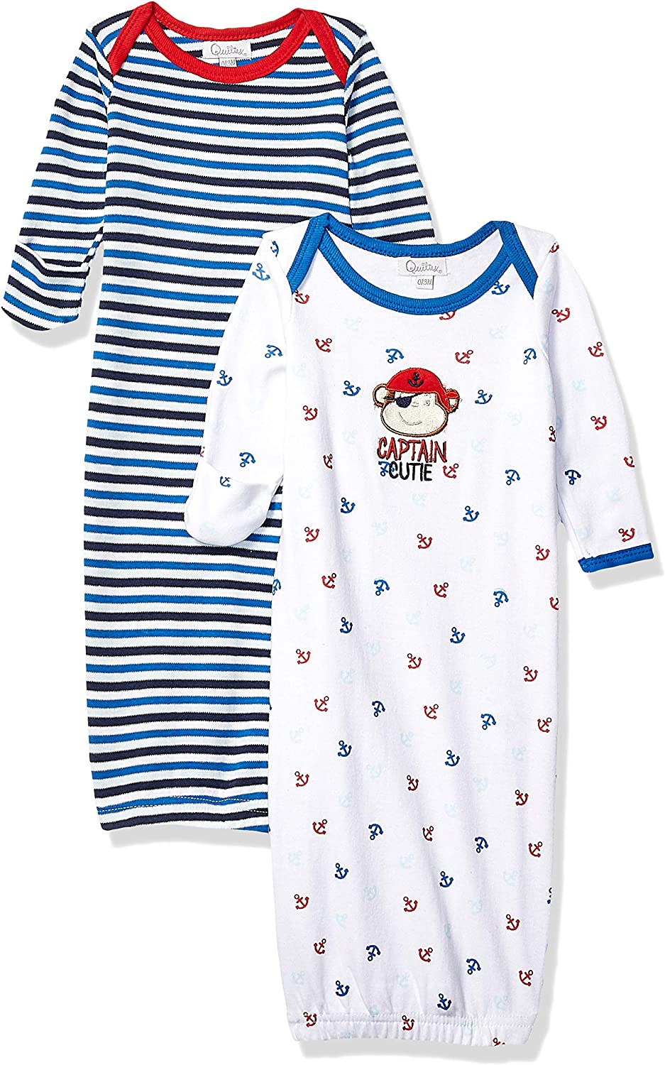 Quiltex Baby Boys Long Sleeve Sleeper Gown Set 2 Pack