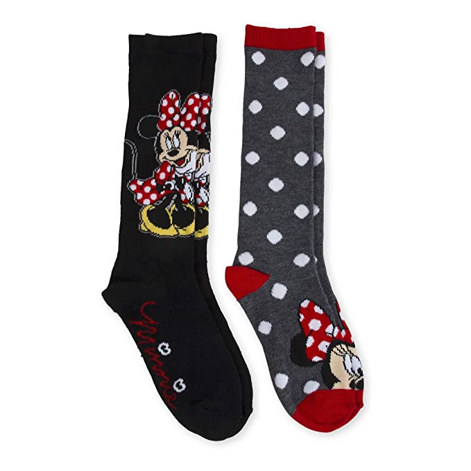 2 Pair Minnie Mouse Knee High Socks Medium 7.5-3.5