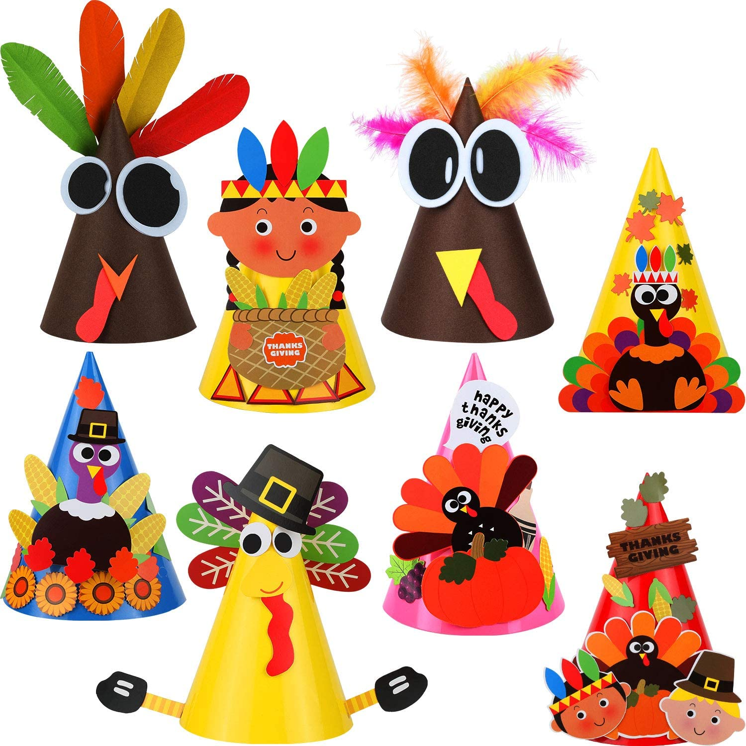 8 Pieces Thanksgiving Turkey Craft Kit Party Hat Craft Fun Celebration Kit for Thanksgiving DIY Party Game Decoration, 8 Styles