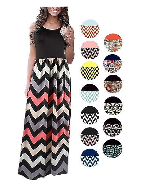 Amazon.com: LIYOHON - Maxi vestido suelto de verano a rayas ...