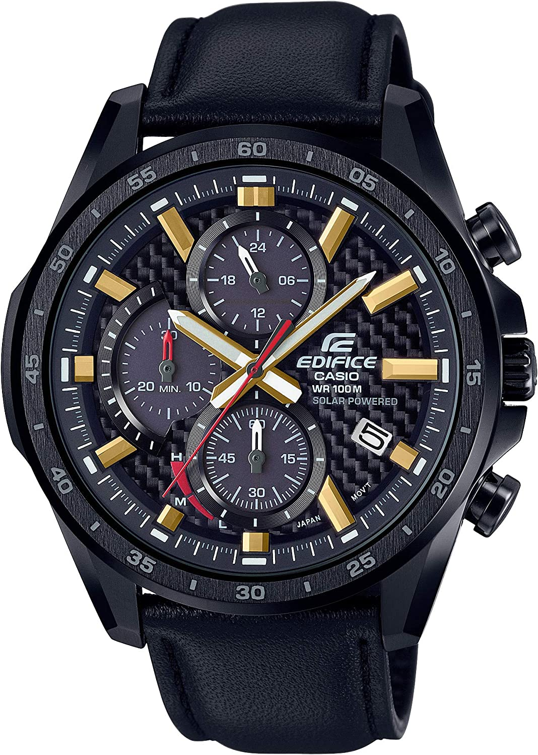 Casio Men s Edifice Stainless Steel Quartz Watch with Leather Strap, Black, 22 Model EQS-900CL-1AVCR