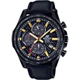 Casio Men's Edifice Stainless Steel Quartz Watch with Leather Strap, Black, 22 (Model: EQS-900CL-1AVCR)