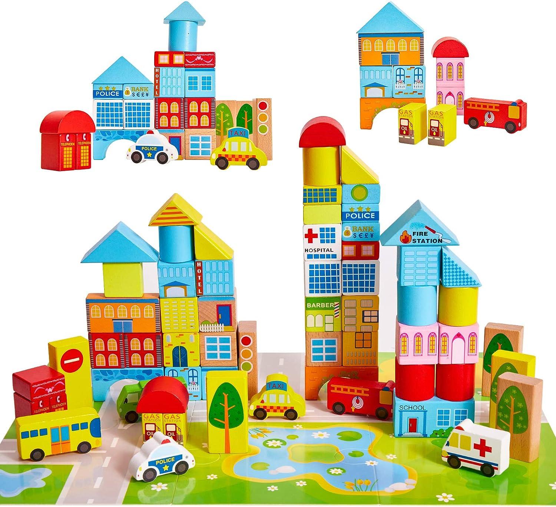 Onshine Bloques Madera Construccion Niños Puzzle Montessori Juguetes Infantiles Coche Hospital Banco Juego Educativo Regalo para Niños Niña 3 4 5 6 Años