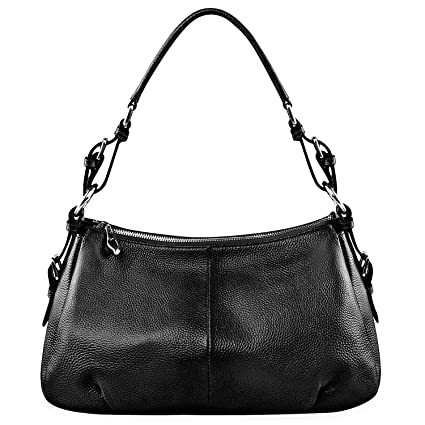 6e179fe14b S-ZONE Geniune Leather Handbags for Women Ladies Purse Tote Shoulder Bag  Black  Amazon.co.uk  Luggage