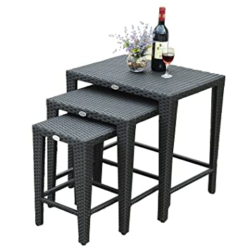 Table basse gigogne salon jardin résine rotin tressé lot de 3 tables ...