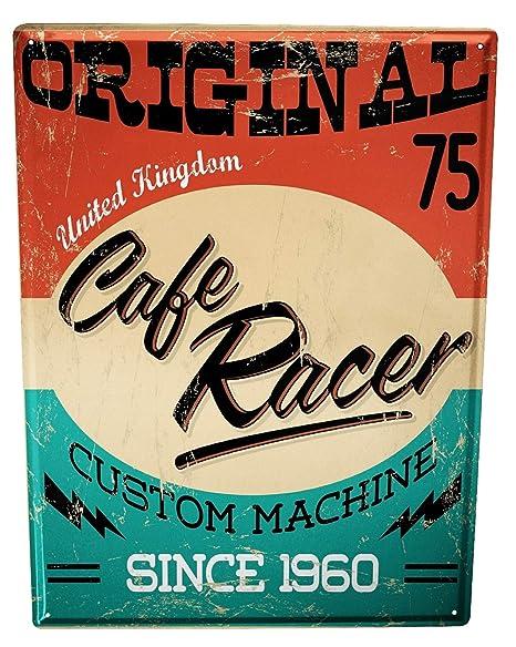 Cartel Letrero de Chapa café racer