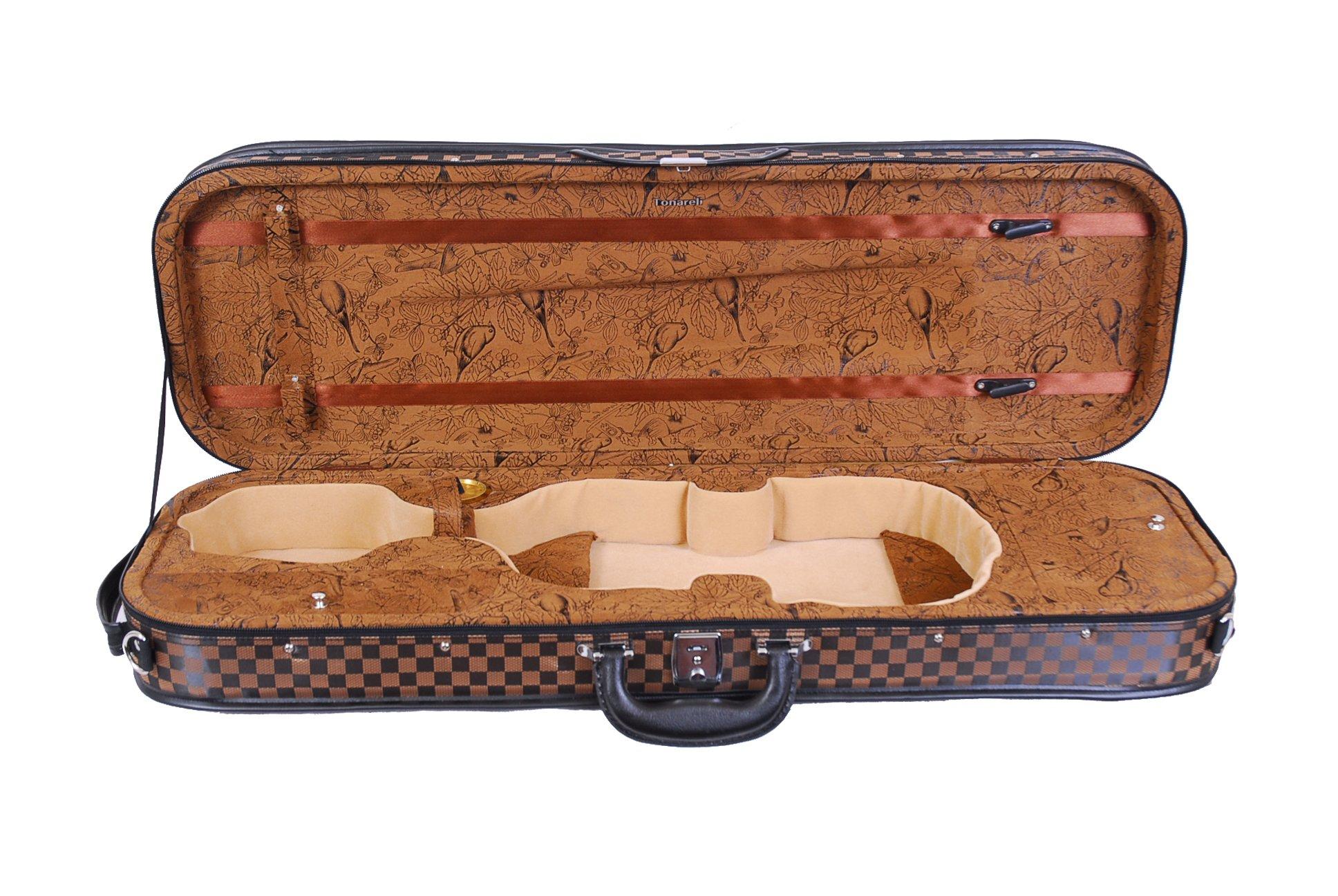Tonareli Ultra Light Oblong Violin Case - Checkered - Brown ''Birds'' - 4/4