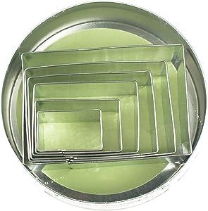 Fox Run Rectangle Cookie cutters, 4 x 4 x 1 inches, Metallic