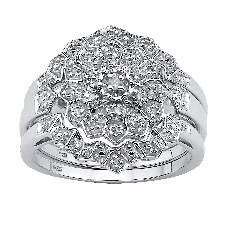 White Diamond Platinum over .925 Silver 3-Piece Bridal Ring Set (.14 cttw, HI Color, I3 Clarity)
