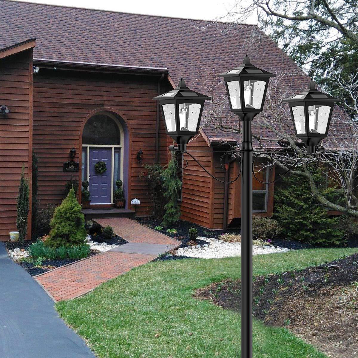 Planter Not Included Greluna 72 Solar Lamp Post Lights Outdoor Lawn Solar Post Light for Garden Triple-Head Street Vintage Solar Lamp Outdoor