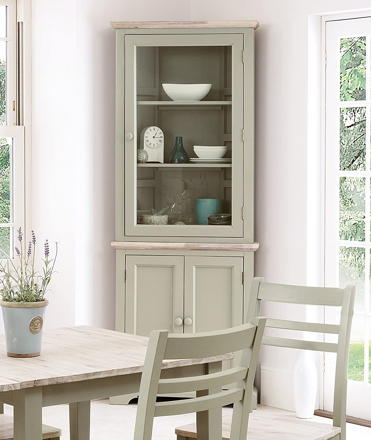 Florence Corner Display Cabinet Dresser Large With Shelf And Glass Door In Sage Green Colour QUALITY Kitchen Furniture Amazoncouk