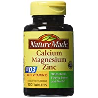 Nature Made Calcium, Magnesium, and Zinc with Vitamin D, With D-3 100 Tablets (pack of 6)