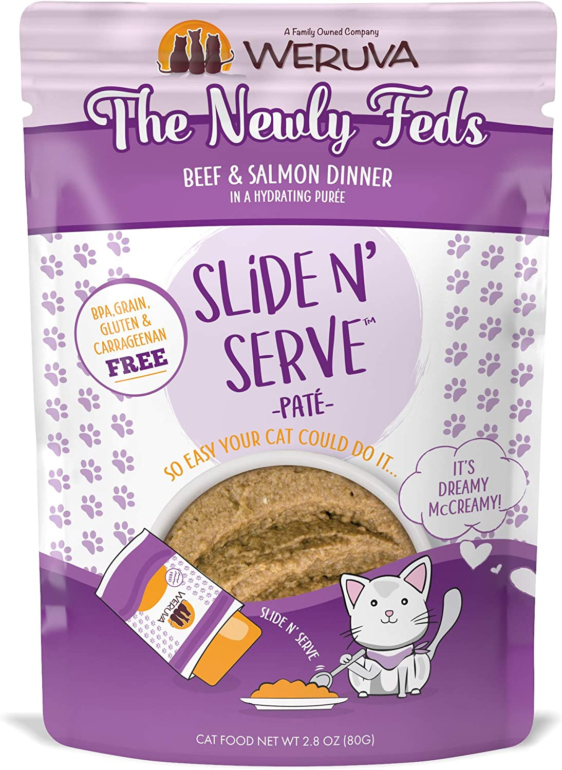 Weruva Slide N' Serve Paté Wet Cat Food, The Newly Feds Beef & Salmon Dinner, 2.8Oz Pouch (Pack Of 12)