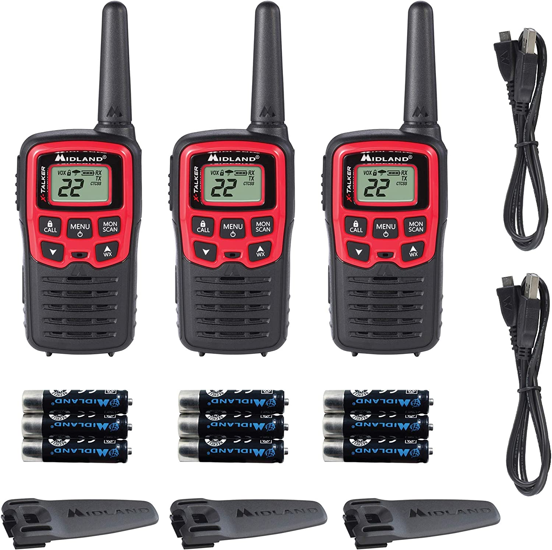 Up to 26 Mile Range Two-Way Radio NOAA Weather Alert Midland X-TALKER T31VP Black//Red 38 Privacy Codes Pair Pack Midland Radio Corporation 22 Channel FRS Walkie Talkie