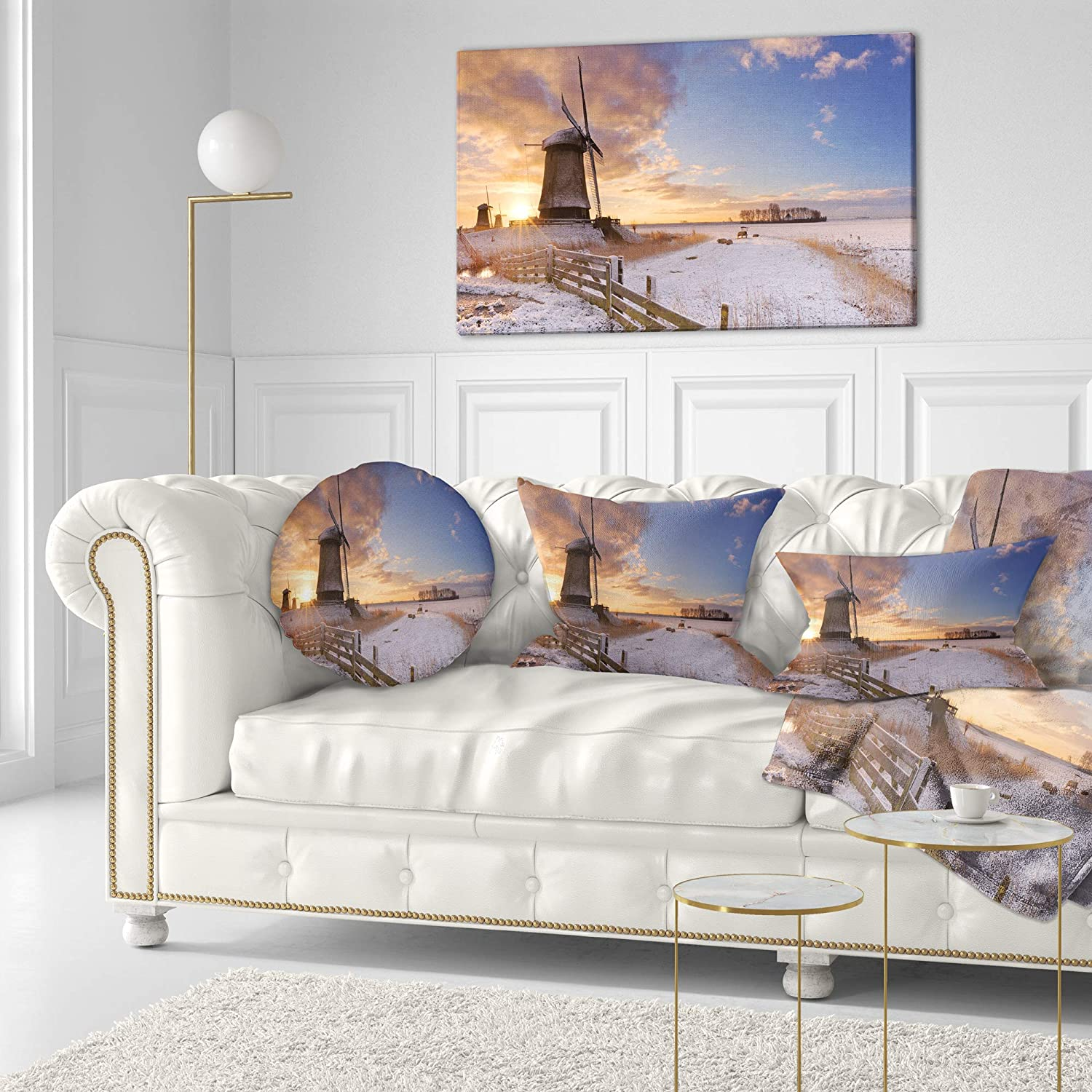 Sofa Throw Pillow 20 Inches Designart CU15946-20-20-C Dutch Windmills at Sunrise Abstract Round Cushion Cover for Living Room Insert Printed on Both Side