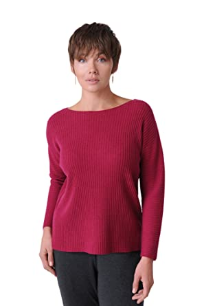 9a8d939bad711f Image Unavailable. Image not available for. Color: Eileen Fisher Hibiscus  Seamless Italian Cashmere Links Bateau Neck Box-Top ...