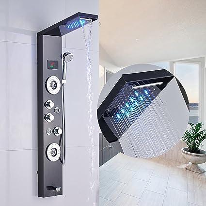 Senlesen Stainless Steel Shower Panel Tower System,LED Rainfall Waterfall  Shower Head 5 Function