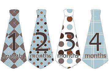 4bfbcab05666 Amazon.com   Monthly Baby Boy Tie Stickers Neck Ties Necktie Blue ...