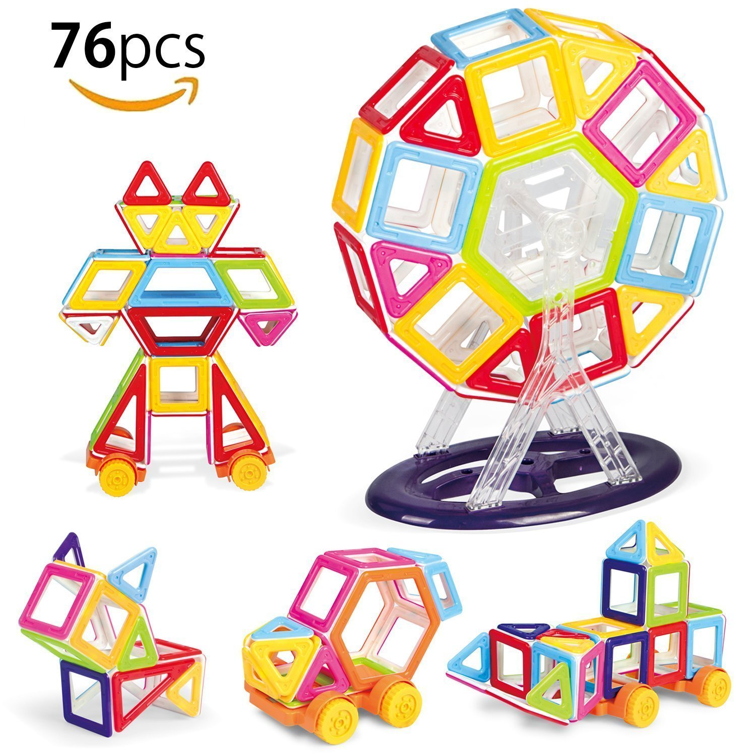Minihorse 76 PCS Magnetic Building Blocks Educational Toys Magnet Tiles Set Stacking Blocks for 5-8 years old Kids