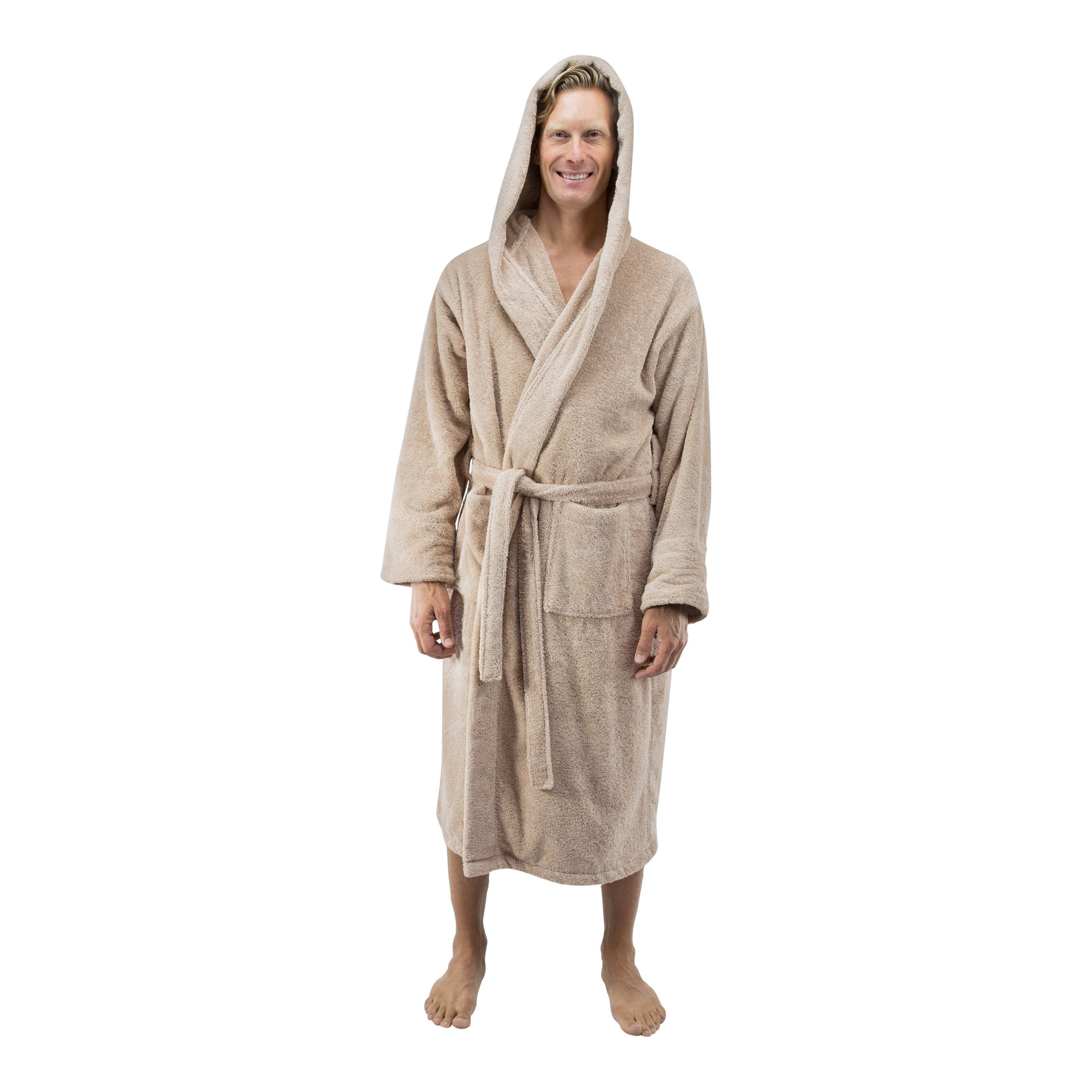 Comfy Robes Personalized Men's Deluxe 20 oz. Turkish Cotton Hooded Bathrobe, L/XL (OSFM) Tall Beige