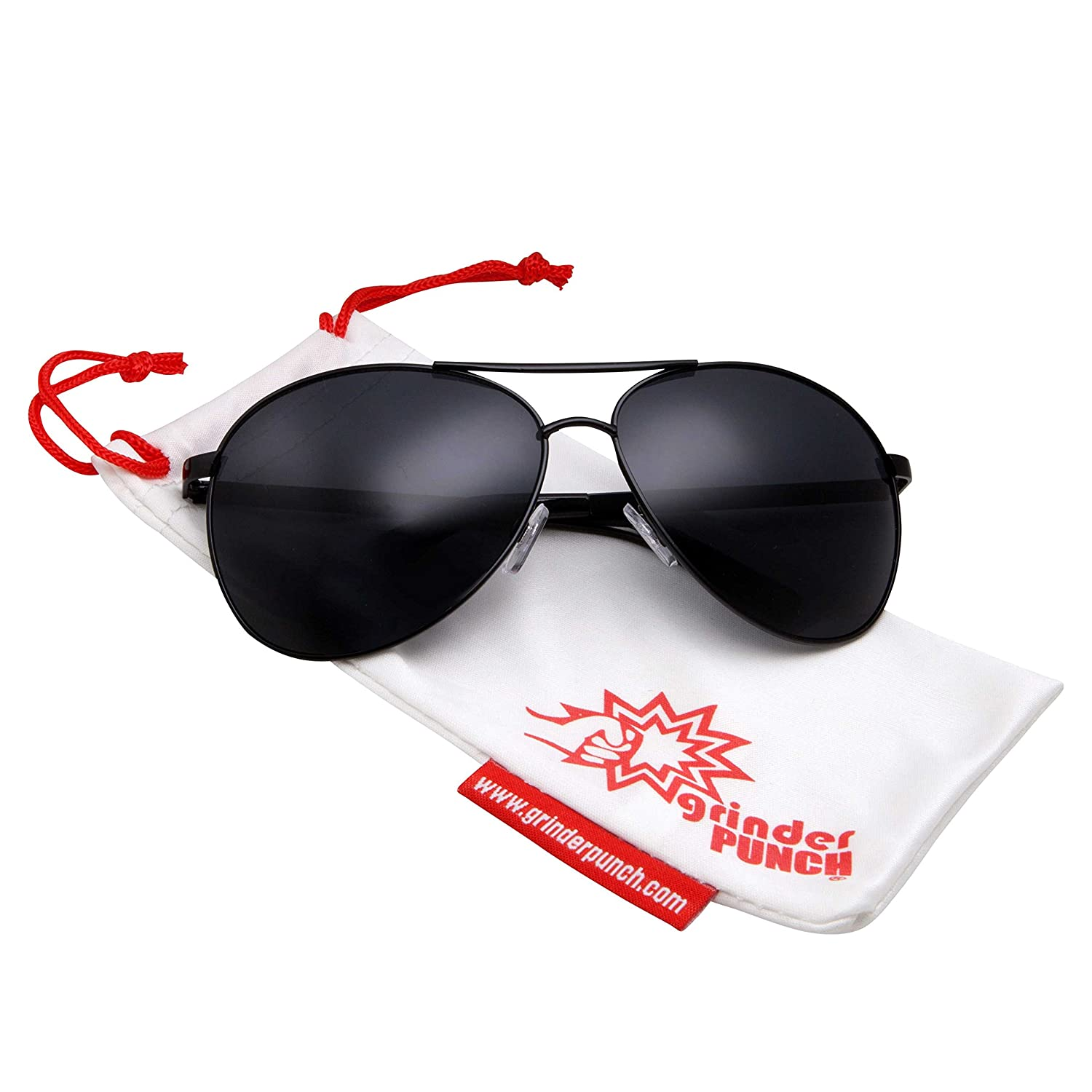 f5d8951dc2 Amazon.com  grinderPUNCH - Big XL Wide Frame Extra Large Aviator Sunglasses  Oversized 148mm Black  Clothing