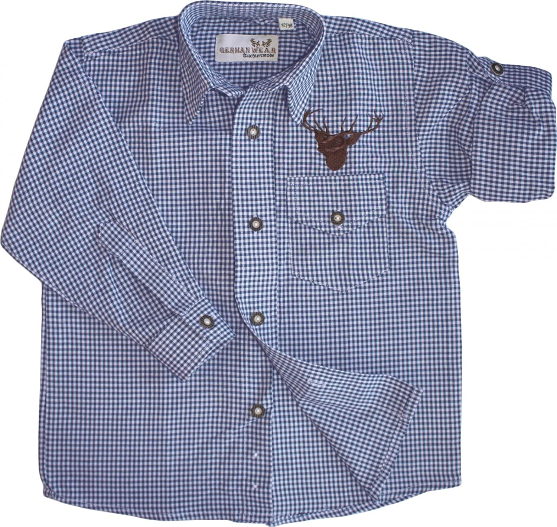 Kinder Trachtenhemd knaben Trachtenlederhosen mit Hirsch stickerei Blau-karo