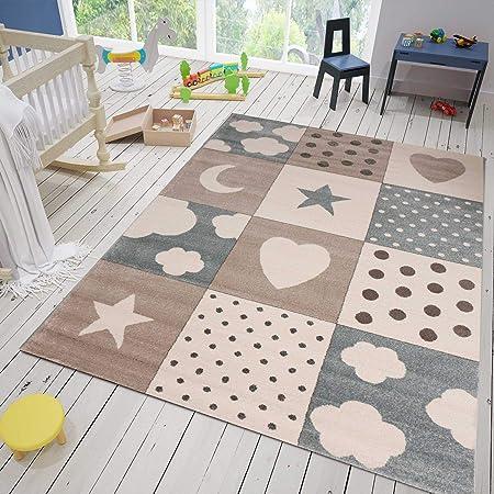 Kinderteppich Kinderzimmer Berg Motiv Mond Sterne In Pastell Blau Grau