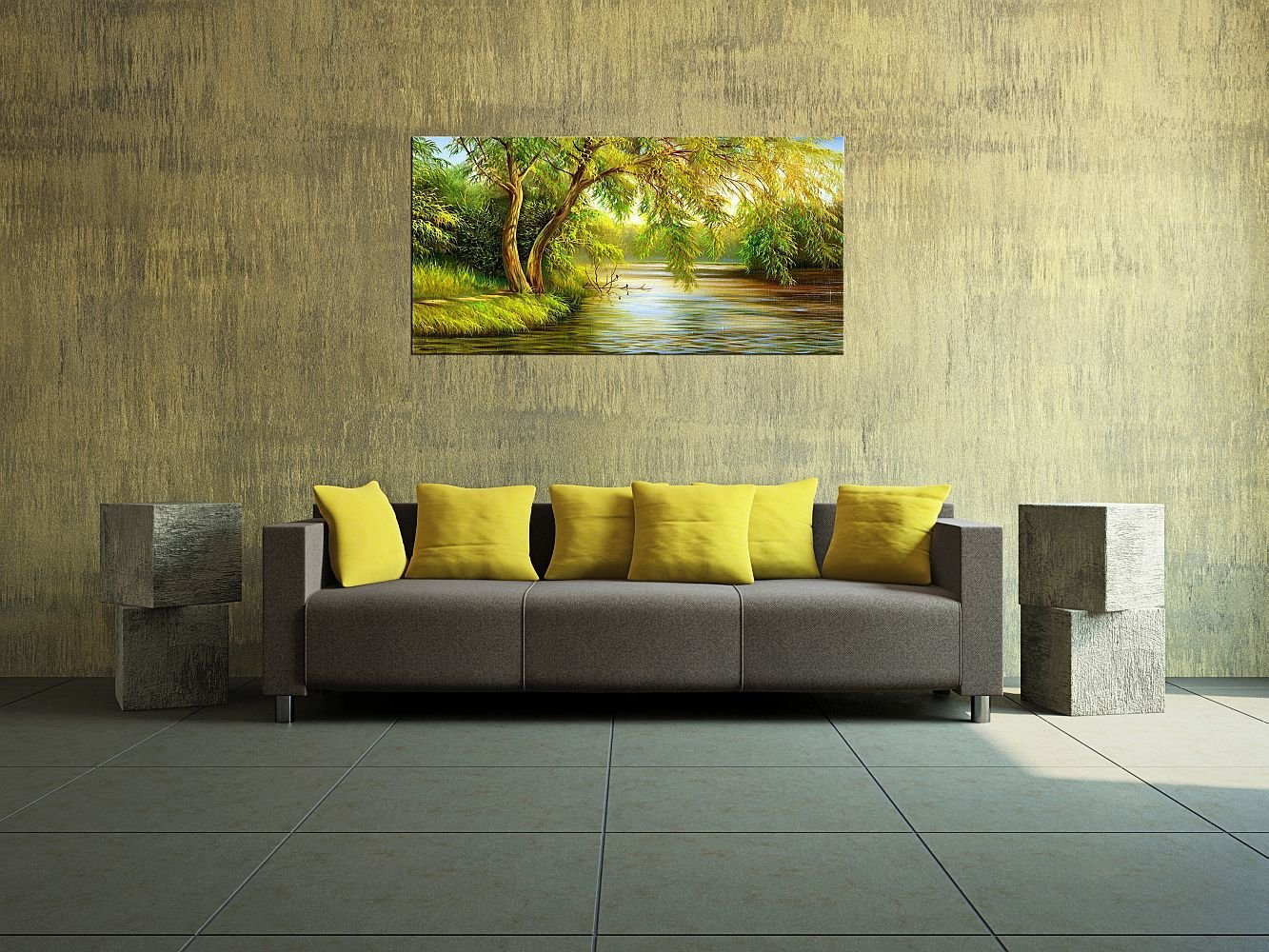Amazon.com: Startonight Canvas Wall Art Country Landscape Willow ...