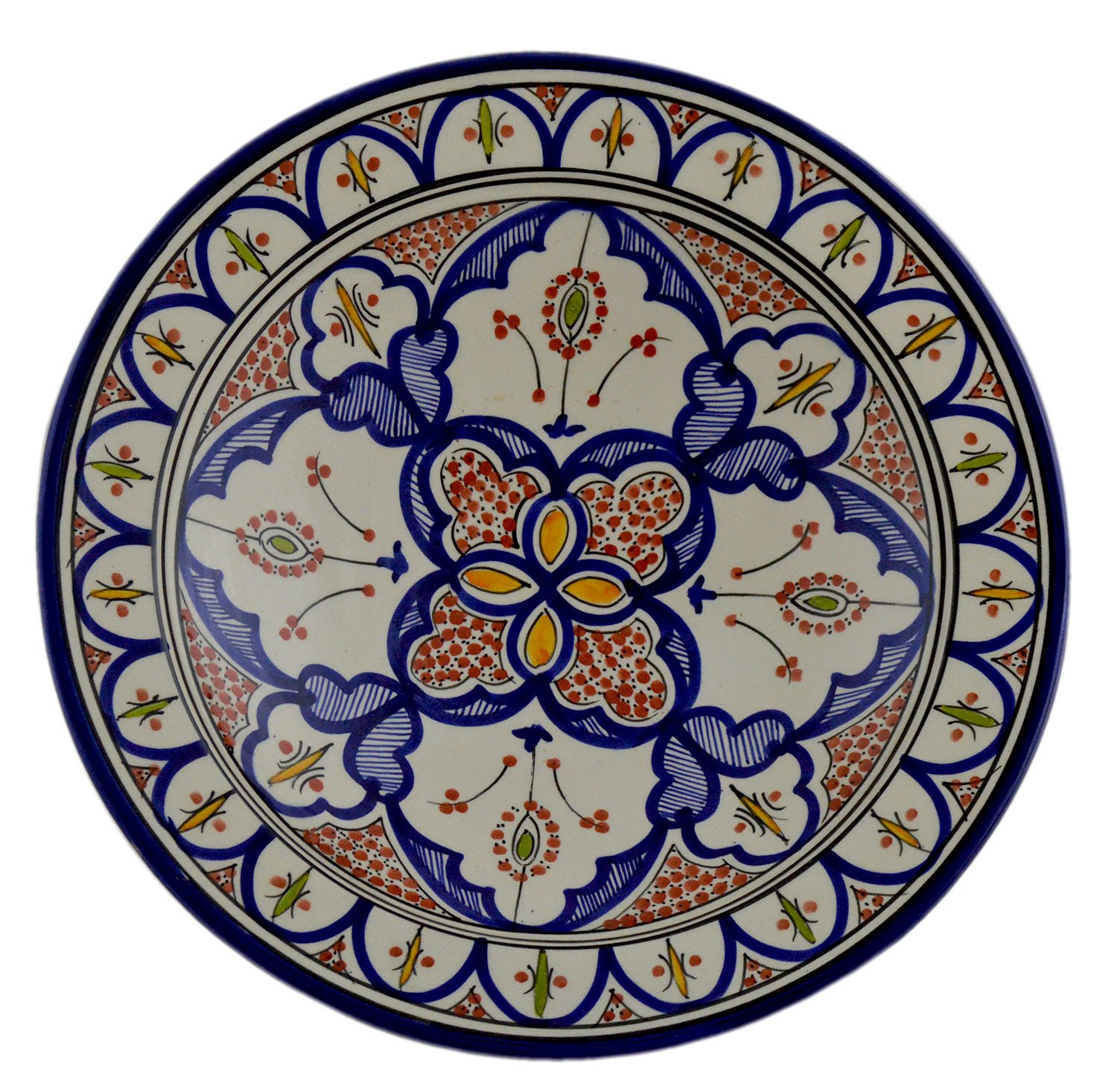 Hand Made Moroccan 14 Inches Serving Plate Pasta Bowl Salad Bowl Mediterranean Pottery