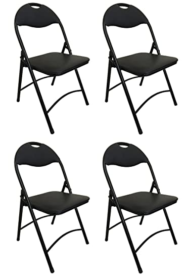Heavy Duty Black Metal Folding Chair With Padded Seat For Comfort Steel  Frame (4)