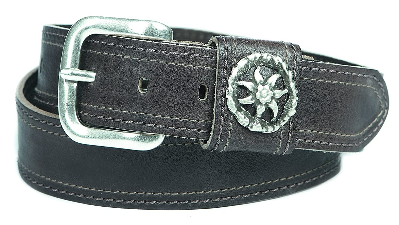Edelweiß Trachtengürtel Tracht Ledergürtel Wandern Gürtel boarischer retro Style abgesteppt 4cm in braun : )
