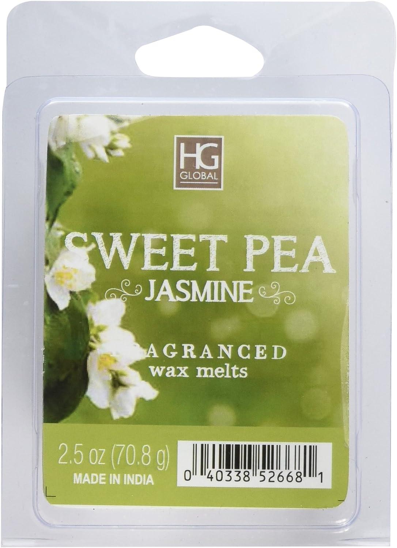 Hosley's Sweet Pea Jasmine Wax Cubes - Set of 6 / 2.5 oz each BULK BUY. Ideal GIFT for Party Favor, Weddings, Spa, Reiki, Meditation, Bathroom Settings O3