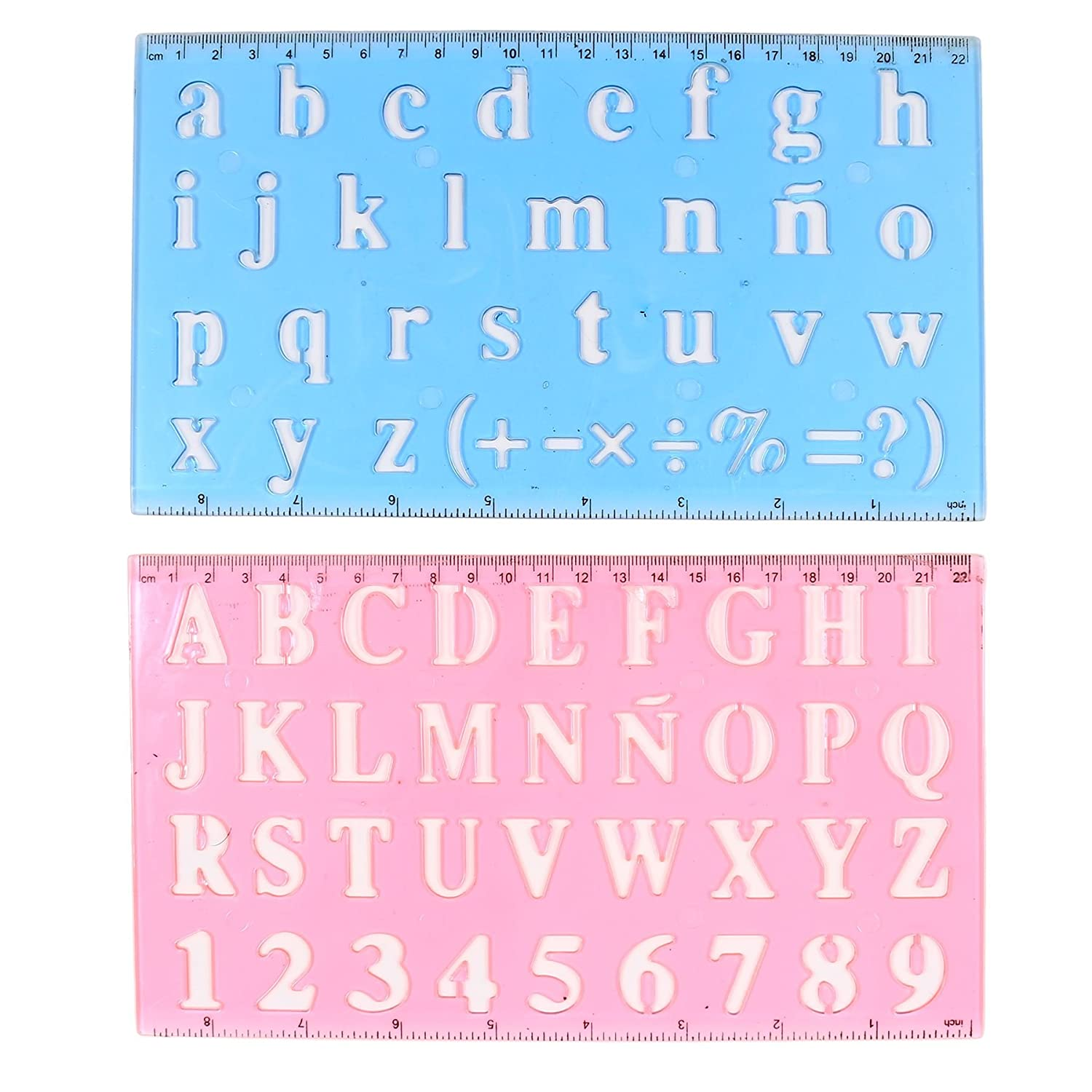 2x Coloured Writing Stencils - letters, Numbers & Symbols White Hinge