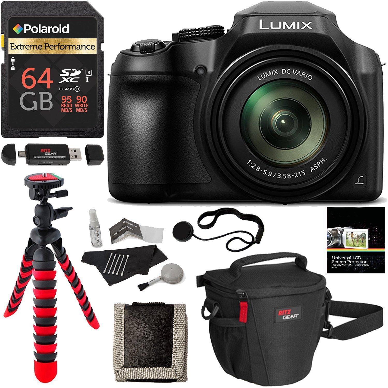 Panasonic FZ80 Lumix 4K Long Zoom Camera, 18.1 MP, F2.8-5.9, Power O.I.S with 3'' LCD + Polaroid 64GB + Camera Bag + Tripod and DC-FZ80K Accessory Bundle by Ritz Camera