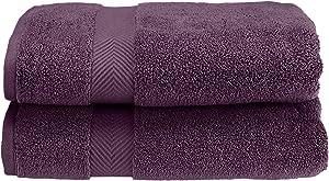 SUPERIOR Zero Twist 100% Cotton Towel Set - 2-Piece Set, Extra Soft Bath Towels, Long-Staple Cotton Towels, Grape Seed