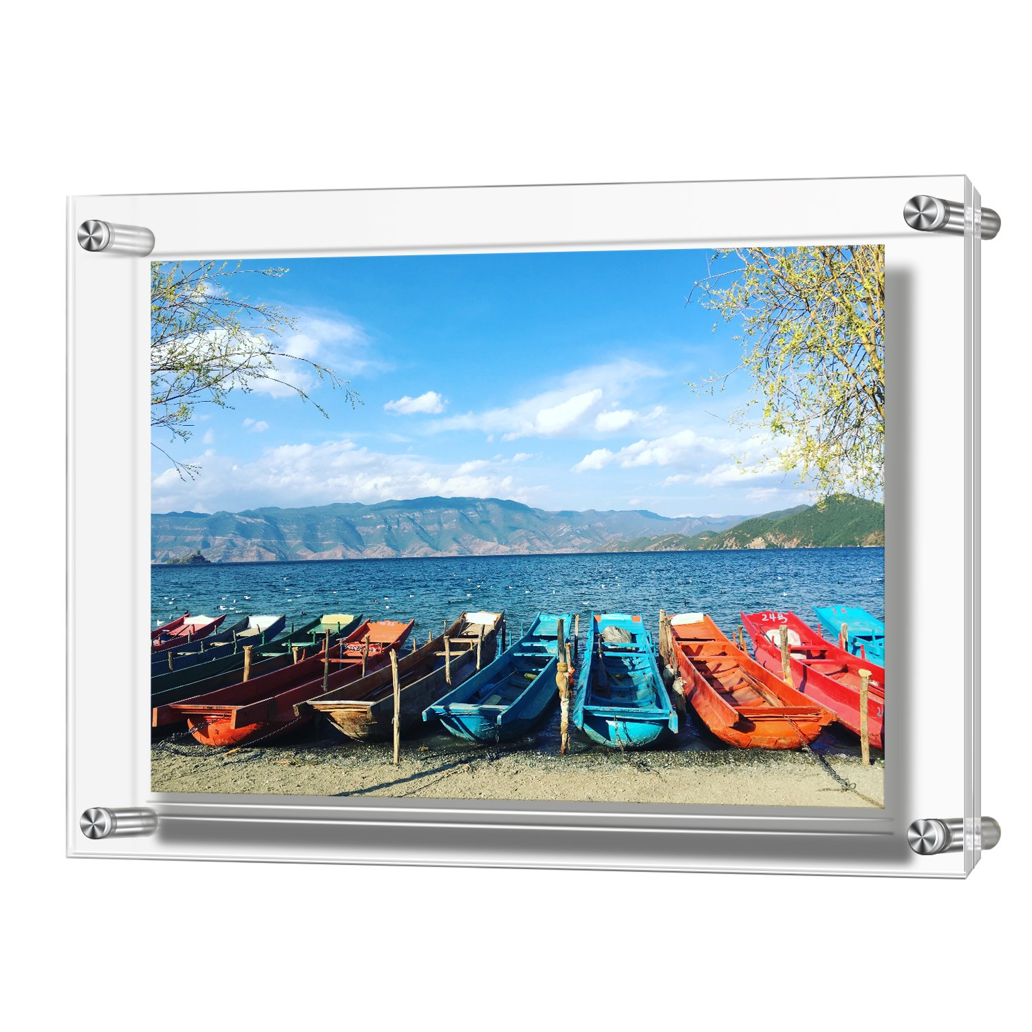 Acrylic Picture Frame, Double Panel Clear Wall Mount Picture Frames Holds 32 x 23 cm Pictures