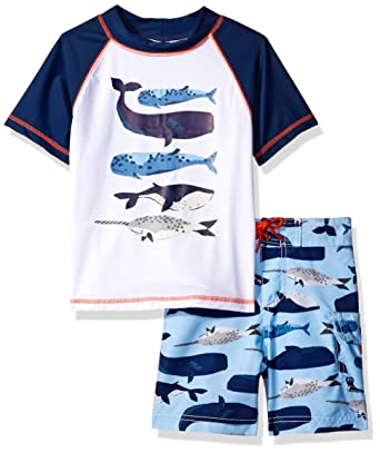 66da072d55 Carter's Little Boys' Toddler 2 Piece Whales Rash Guard Set, White, ...