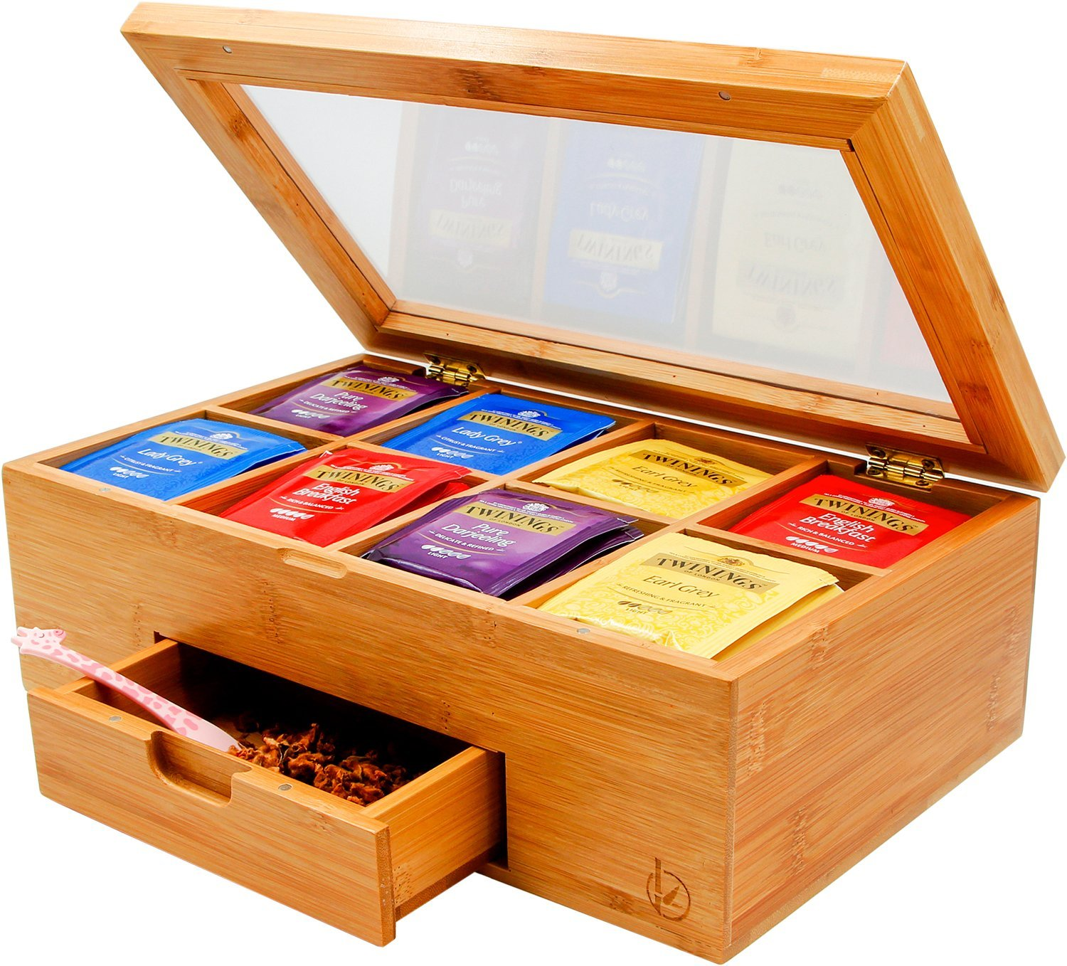 Bamboo Tea Box, BambooDaily Nice Tea Bag Storage Chest with Expandable Drawer, 8 Compartments, Clear Hinged Lid, Natural Color
