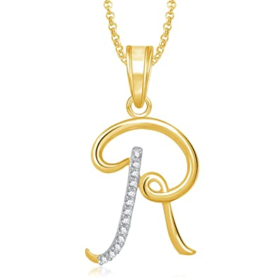 Buy Meenaz Gold Plated  R  Letter Pendant Locket Alphabet Heart With Chain  For Men And Women PS460 Online at Low Prices in India  8dd792dcb98