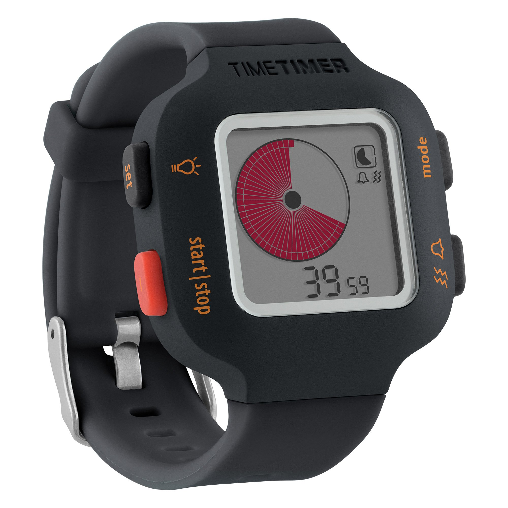 Time Timer Watch Plus (Charcoal), Visual Timer (Repeatable), Clock (Analog and Digital in 12 or 24 Hour), Alarm, Size Small by Time Timer