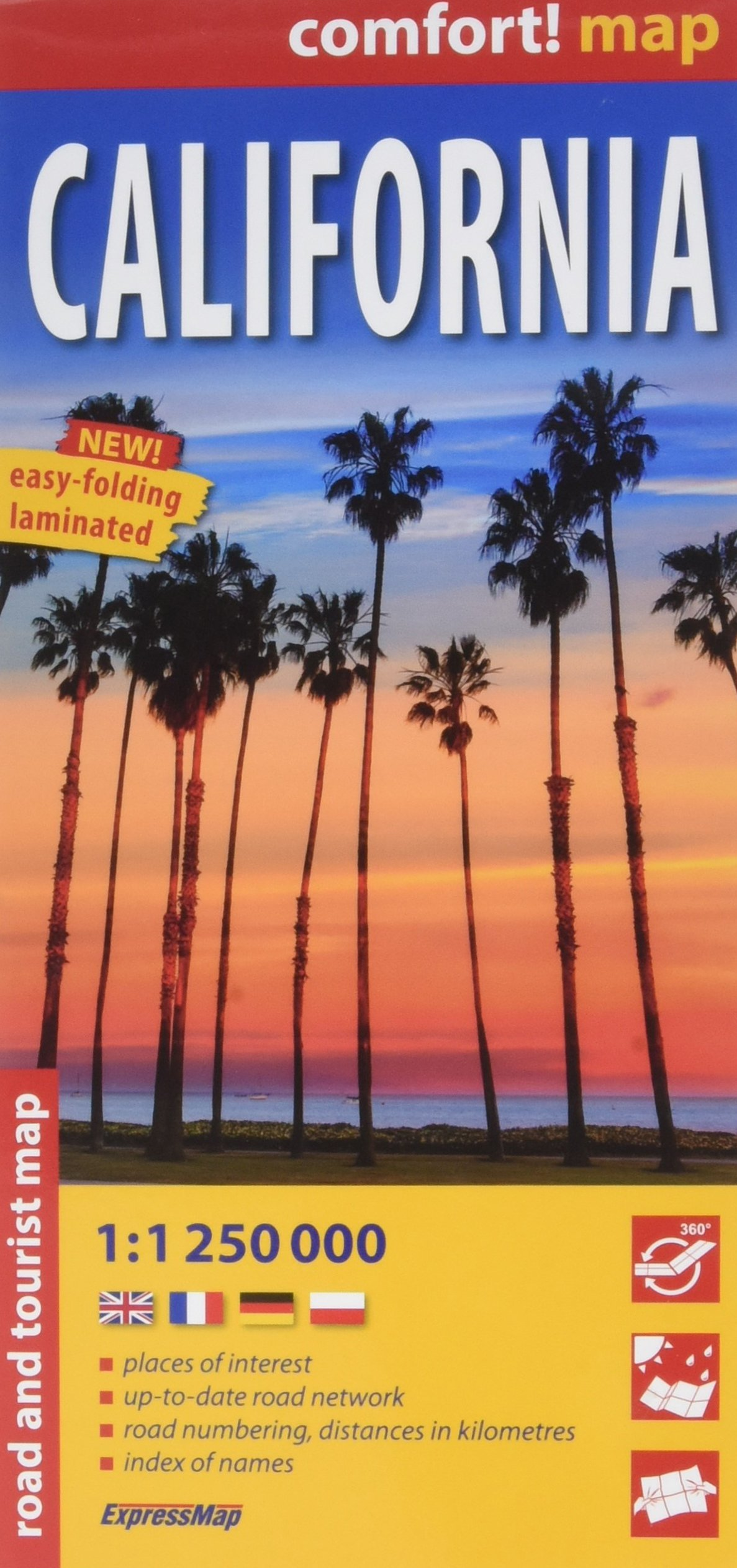 Californie : 1/1 250 000 Carte – Carte pliée, 23 juin 2017 Express Map 8380462866 California HI