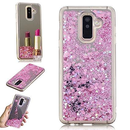 HopMore Compatible con Funda Samsung Galaxy A6 Plus (2018) Silicona 3D Glitter Purpurina Espejo Brillante Transparente TPU Gel Carcasa Resistente Case ...
