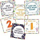 WOBBOX Baby Monthly Record 0-12 Months Growth Milestones Cards - Set of 21 Pieces