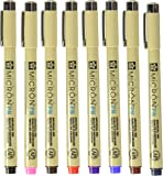 Sakura Pigma Micron PN line Drawing 8 Color pens Set, Bible journaling Study kit, Assorted colors