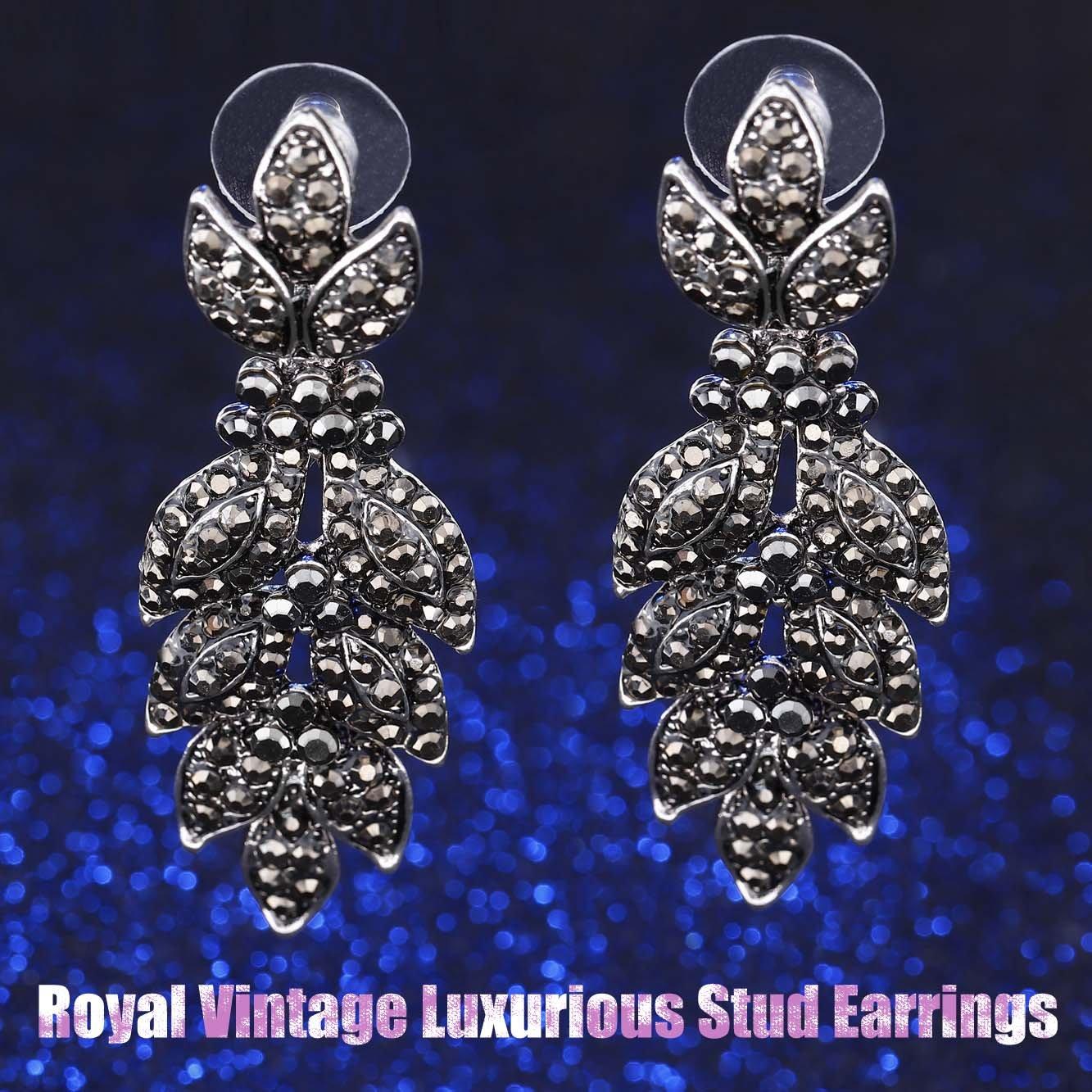 Unicra Vintage Black Crystal Stud Earrings Wedding Bridal Multiple Rhinestone Earrings Chandelier Long Dangle Earrings for Women and Girls by Unicra (Image #5)