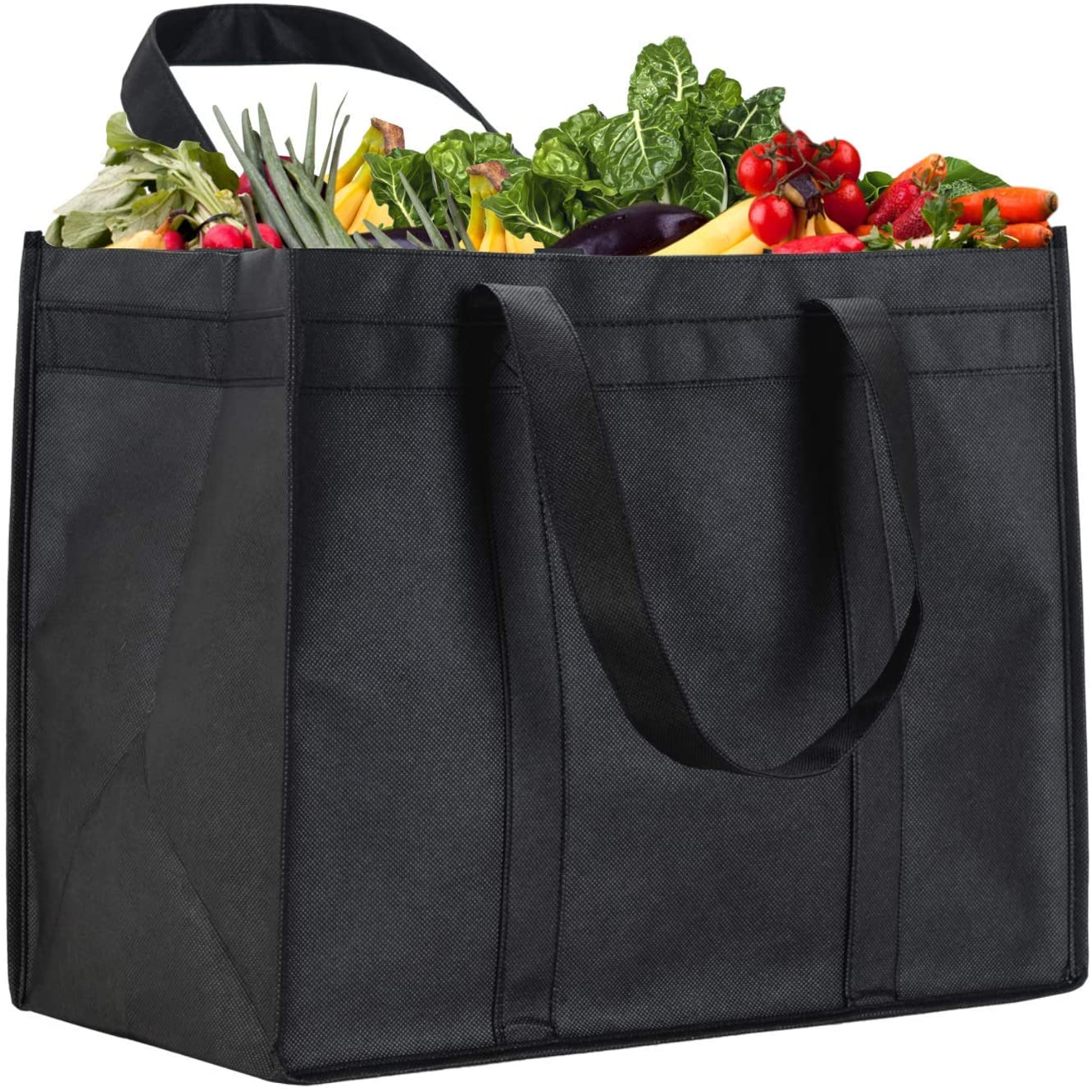 NZ Home XL Reusable Grocery Bags, Heavy Duty Shopping Tote, Stands Upright, Foldable, Washable (Black 5 Pack)