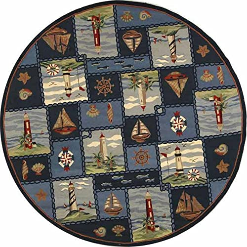 Safavieh Chelsea Collection HK267A Hand-Hooked Blue Premium Wool Round Area Rug 8 Diameter