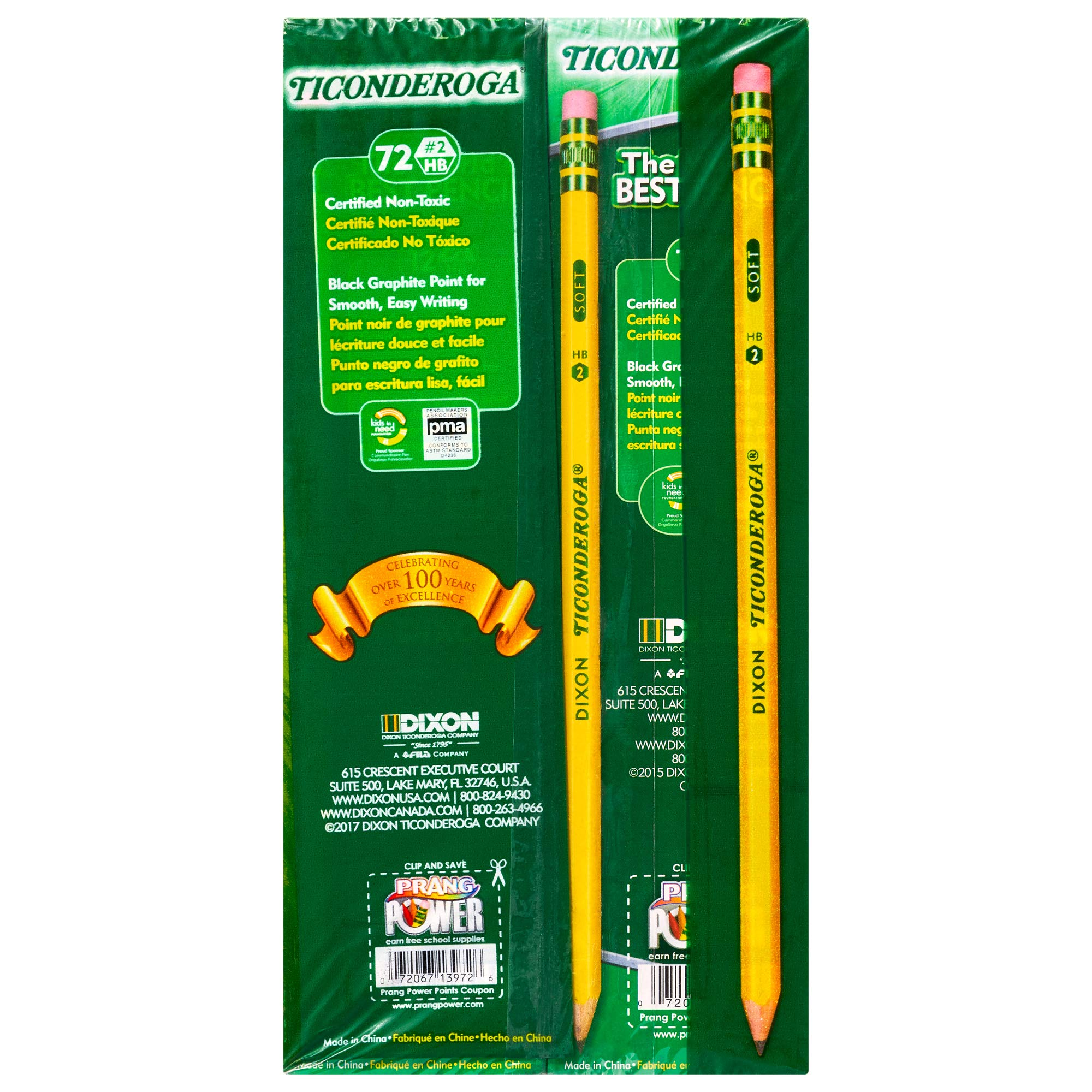 TICONDEROGA Pencils, Wood-Cased #2 HB Soft, Pre-Sharpened with Eraser, Yellow, 72-Pack (13972) by Ticonderoga (Image #3)