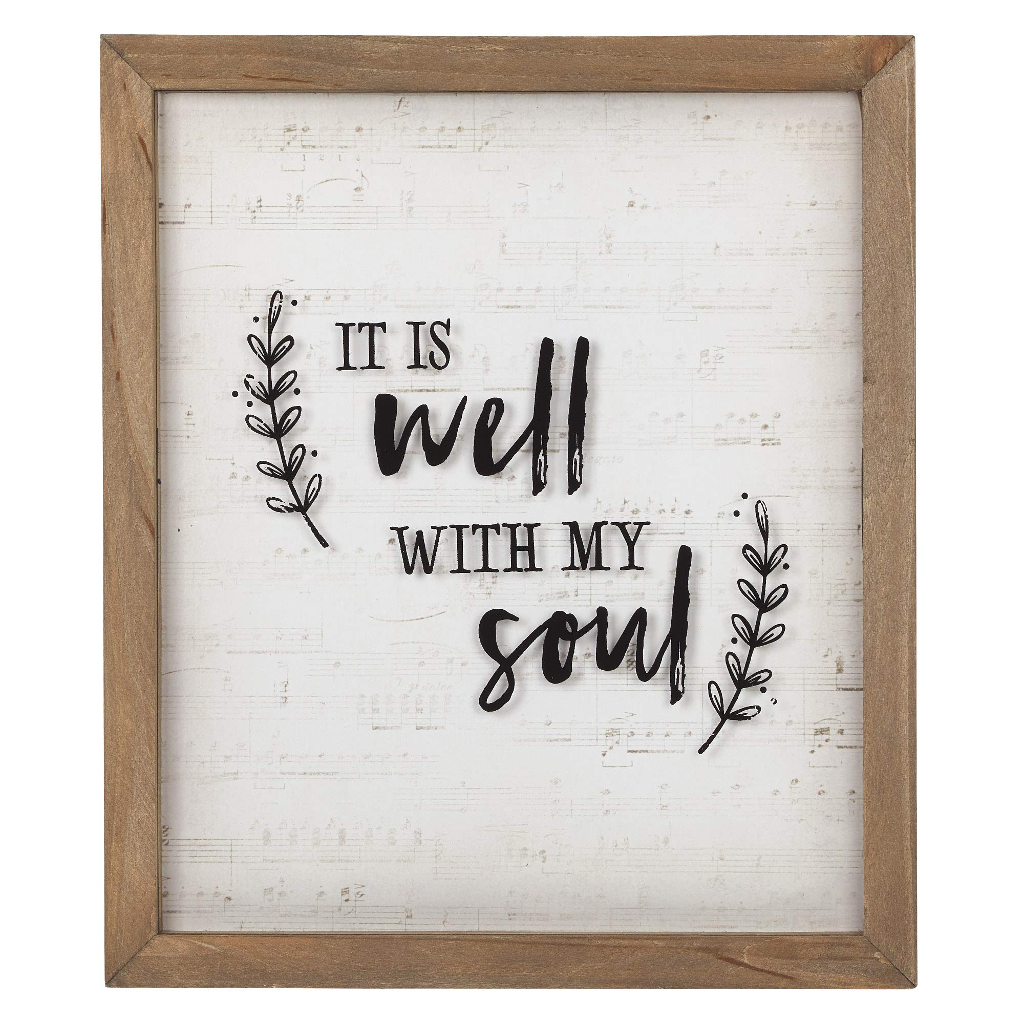 Christian at Gifts Wall Art Home Décor   It is Well with My Soul Inspirational Glass Wall Plaque   Rustic, 12 x 14…
