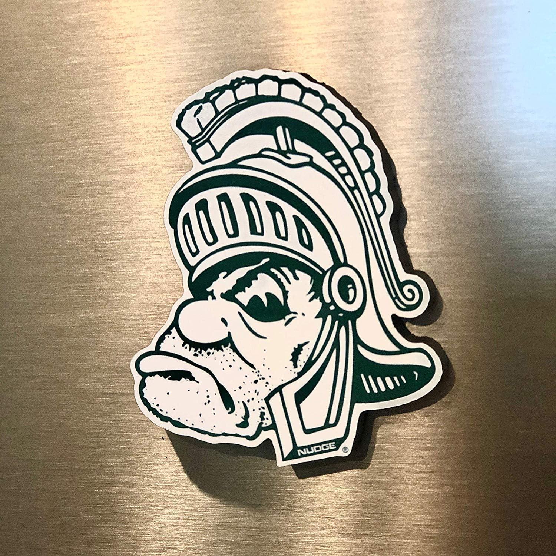 Nudge Nudge Printing Gruff Sparty Michigan State Spartans MSU Premium Wooden Magnet for Refrigerators Fridges